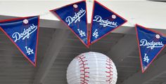 Dodger pennants and baseball paper lanterns made for simple yet nice decorations