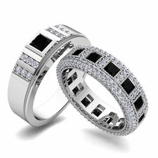Matching Wedding Band in 14k Gold Princess Cut Black Diamond and Diamond Ring