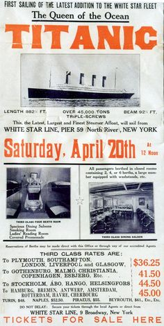 Ticket poster from the White Star Line - the picture is not the Titanic but the Olympic.