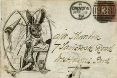Illustrated envelope addressed to Major Thornton and prepaid with a perforate penny red with four corner letters, cancelled with the Croydon duplex dated 18 March 1879