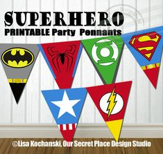 INSTANT DOWNLOAD Printable Superhero Party Banner Superhero Symbols by OurSecretPlace