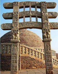 "East Gateway of Sanchi Stupa"", Stone. H 35 . Dynamic Architecture, Water Architecture, Temple Architecture, Indian Architecture, Ancient Architecture, Unique Buildings, Beautiful Buildings, Tibet, Great Stupa At Sanchi"
