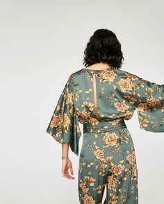 PRINTED KIMONO JUMPSUIT-TRENDING NOW-WOMAN | ZARA United Kingdom Satin Jumpsuit, Jumpsuit Dress, Flower Crew, Vintage Jumpsuit, Designer Jumpsuits, Textiles, Jumpsuit Pattern, Flattering Dresses, Kimono Jacket