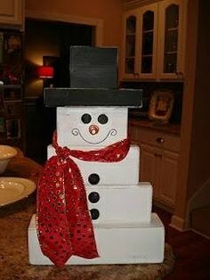 snowman from wood