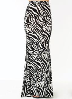 Wild Zebra Mermaid Maxi Skirt $38.40