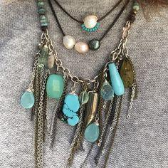 Fringe necklace- turquoise , Aqua ,Peruvian opal , pyrite .