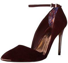 Flattering two part Ted Baker court with slim ankle strap and embossed metal hardware. brand new slender heel with a sprayed gloss finish. signature metallic branded sock and rose gold soles....