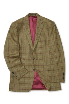 One of this collection's most versatile jackets, this mid-green tweed is fabric woven by the prestigious Scottish mill, Robert Noble, with Burgundy and white windowpane checks. Woven Fabric, Tweed, Burgundy, Suit Jacket, Blazer, House Styles, Jackets, Men, Clothes