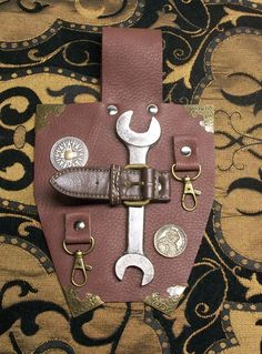Items similar to Steampunk Leather Wrench Holder Swivel Clips Decorative Accessory on Etsy Steampunk Mechanic, Wrench Holder, Steampunk Costume, Pinocchio, Costume Design, Decorative Accessories, Creatures, Costumes, Trending Outfits