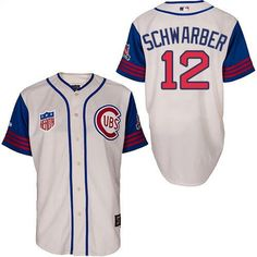 03a75752ffa98 Men s Chicago Cubs 1942 Kyle Schwarber Majestic 100th Anniversary Sunday  home jersey