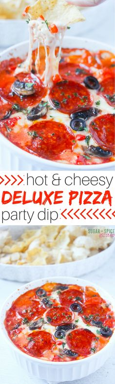 This hot and cheesy deluxe pizza dip is perfect for your next get-together or a chill movie night with the fam. Two layers of cheese, tomato sauce, and all of your favorite toppings - it doesn't get better than this party dip