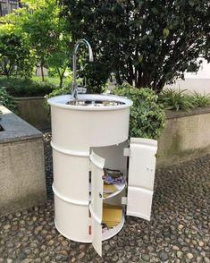 Outdoor Kitchen Sink, Outdoor Sinks, Outdoor Bathrooms, Outdoor Baths, Barrel Sink, Metal Barrel, Barrel Projects, Outdoor Projects, Barrel Furniture
