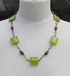 Green Murano style glass bead necklace green glass by ChillBunny