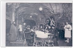 Postcard showing the interior of the Cabaret le Ciel (Cabaret of Heaven) in Paris in the late 1800s.