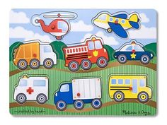 Buy Vehicles Wooden Peg Puzzle - Melissa & Doug at Mighty Ape NZ. Go, go, go in your choice of vehicle with this colourful wooden puzzle! The bright colours will catch your child's interest and the pictures u. Wooden Pegs, Wooden Puzzles, Toddler Preschool, Toddler Toys, Preschool Toys, Montessori Activities, Motor Activities, Lego, Puzzles For Toddlers
