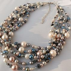 Multistrand pearl and crystal necklace rose by CasualBlingandPPC, $50.00