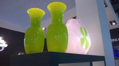 Lime green Opal vases
