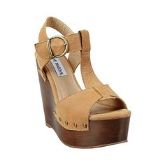 WYLIEE COGNAC LEATHER women's sandal high wedge - Steve Madden