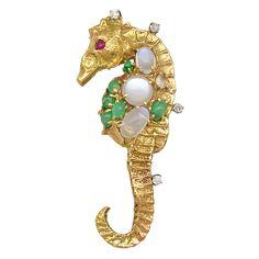 1STDIBS.COM Jewelry & Watches - Seaman Schepps - SEAMAN SCHEPPS Moonstone Seahorse Brooch - Neil Marrs