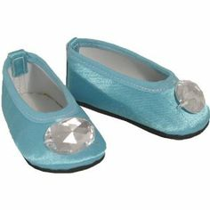 American Doll Shoes for 18 Inch Dolls, Turquoise Jeweled Toe Flats Slip On Shoes, 1 Pr. Satin Turquoise Doll Shoes by Sophia's. $6.95. Jeweled toe front. Satin ballet flat. Fits 18 inch dolls, like the American Girl Doll. Our turquoise jeweled toe shoes will be a hit with your favorite 18 inch doll! A great shoe for adding pizazz to any outfit!