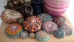 Mandala Stone by ArtsOfAnanda on Etsy Dot Painting, Stone Painting, Acrylic Spray, River Stones, Painted Stones, Easter Eggs, Christmas Bulbs, Centerpieces, Mandala
