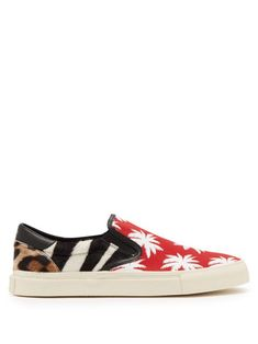 af00ac57ce AMIRI AMIRI - PRINTED PATCHWORK CANVAS AND CALF HAIR TRAINERS - MENS - RED  MULTI.  amiri  shoes