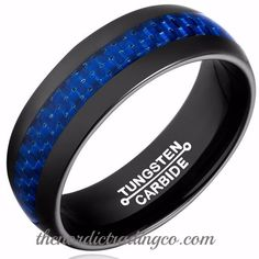 Newest in Black 100% Tungsten Carbide Thin Blue Line Carbon Fiber Inlay Men's / Couples Rings Wedding Bands 1st Responder Police