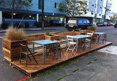 Parklet. These pop-ups remind me of Belgium where all the restaurants put something like this out in the summer to get extra seating outside on the street.