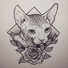 Done! Turned out better than i thought. . #art #drawing #illustration #illustrasjon #tegning #dotwork #woodcut #sphynx #cat #rose #ink #tattoo #tatovering #tattoodesign #trondheim #norge #norway #pen #leaves #animal