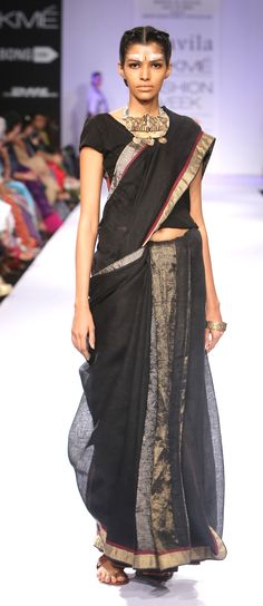 metallic ebony linen Sari