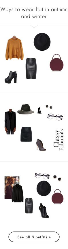 """Ways to wear hat in autumn and winter"" by czirokpanna on Polyvore featuring BUwood, Moschino, Vince Camuto, Gianvito Rossi, Irene Neuwirth, Lynn Ban, Yves Saint Laurent, McQ by Alexander McQueen, Giuseppe Zanotti and Joie"