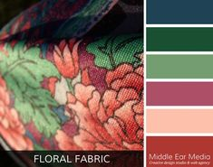 The Floral Fabric Color Palette captures the essence of a unique floral patterned fabric used for a woman's dress.