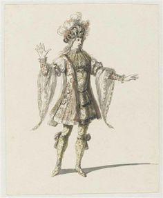"""Recueil """"Costumes des Fêtes, Mascarades, Théâtres, etc., de Louis XIV"""" - Jean I Bérain (1640-1711) – Costume de Florestan ou de héros pour l'opéra Amadis – Paris, Musée du Louvre"""