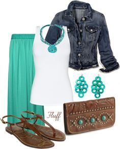 Aqua maxi skirt with a white tank, denim jacket, and brown sandals. Perfect outfit for spring or summer. Get this look with an aqua maxi skirt on sale for only $17.99.
