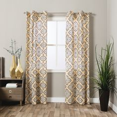 Andrew Charles Atlas Collection Ornamental Cotton Curtain Panel