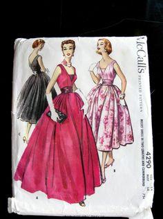 McCalls 4290 1950s Misses Evening Gown Pattern Bust 34 Size 14 UNCUT FF Cummerbund, V Back, Shoulder Straps, Underbodice, Vintage 1957. via Etsy.