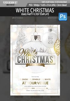 White Christmas Party Flyer Template Simple and organized PSD file in Layers 300 DPI Easy to use CMYK Print Ready with Bleed Margins Dimensions inches / size) (Please dont forget to rate this item if you lik Event Poster Design, Flyer Design, White Xmas, Christmas Flyer Template, Party Poster, Wedding Tattoos, Xmas Party, Party Flyer, Christmas And New Year