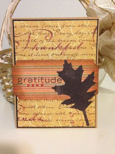 Simple Thanksgiving card with leaf and script design