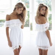 Vestido Blanco sin hombros...