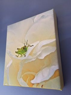 Items similar to Grasshopper on White Peony - Stretched Canvas Print on Etsy White Peonies, Stretched Canvas Prints, Peony, Something To Do, Handmade Gifts, Painting, Vintage, Art, Kid Craft Gifts