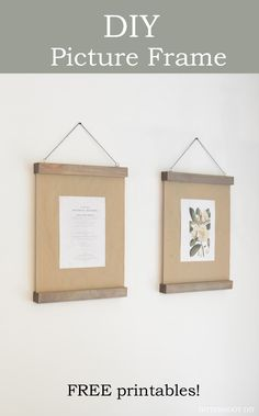DIY Modern Wood Picture Frame and free prints! Diy Wall Art, Diy Wall Decor, Decor Crafts, Diy Home Decor, Wood Picture Frames, Picture On Wood, Hanging Picture Frames, Homemade Frames, Framed Botanical Prints