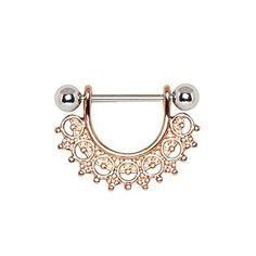 Rose Gold Plated Filigree Fan Design WildKlass Nipple Ring