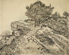 The Rock of Montmajour with Pine Trees Arles, July 1888 Vincent van Gogh (1853 - 1890) pencil, pen and reed pen and brush and ink, on paper, 49.1 cm x 61.0 cm Van Gogh Museum, Amsterdam (Vincent van Gogh Foundation)