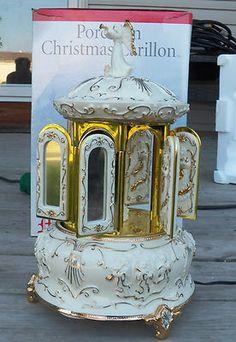 Mr Christmas Porcelain Carillon Carousel w Angels Musical 16 Carols w Box | eBay