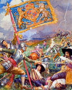 The Uncrowned King of England by John Millar Watt.  Parliamentarian forces capture the royal standard at the Battle of Naseby during the English Civil War. http://www.bookpalace.com/acatalog/John_Millar_Watt_Art.html