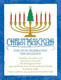 What a merry mash-up - Christmakkah! Celebrate with this vibrant blue party invitation.