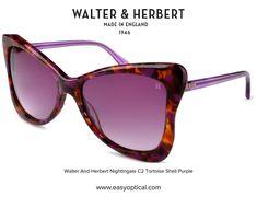 Walter and Herbert Nightingale Tortoise Shell Sunglasses, Nightingale, Purple, Brown, Brown Colors, Viola