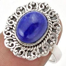 Rare Afghani Blue Lapis Ring 925 Sterling Silver Jewelry Size 7 G85116