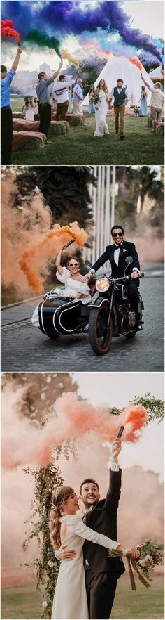smoke bomb wedding photo ideas #wedding #weddingphotos #weddingideas #dpf