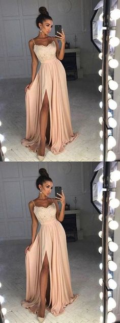 simple blush prom party dress, elegant lace evening gowns, modest split formal gowns 17072 by lass, $172.00 USD #promdressesmodest